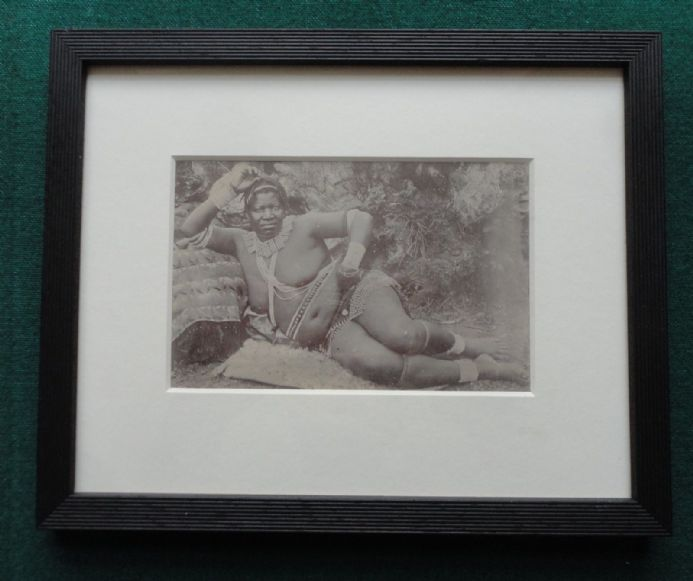 Antique Albumen Photo circa 1890 of a Large African Woman in Beads